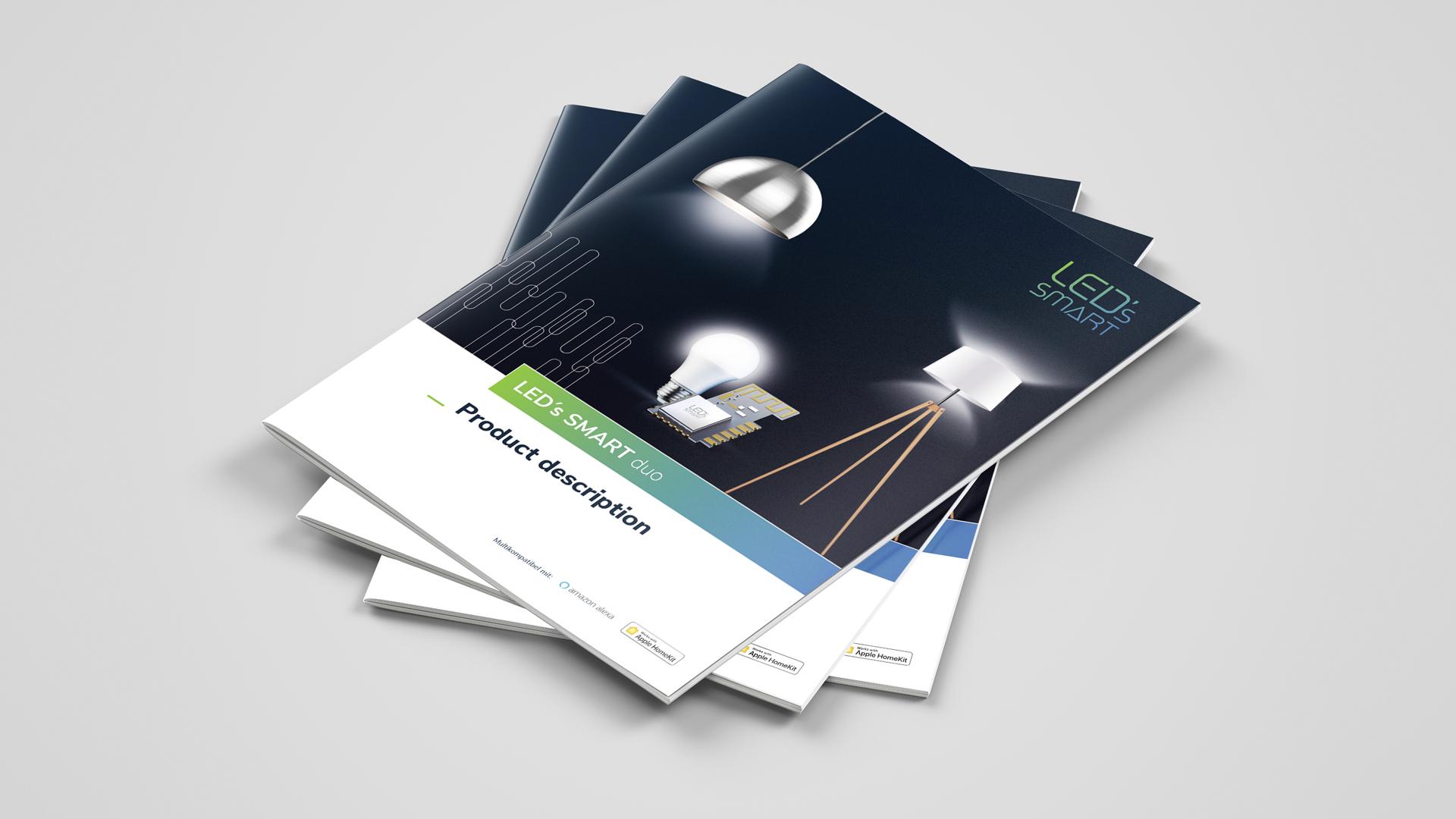 Markenentwicklung – Brand Design für smarte Lampensteuerung, Produktbroschüre