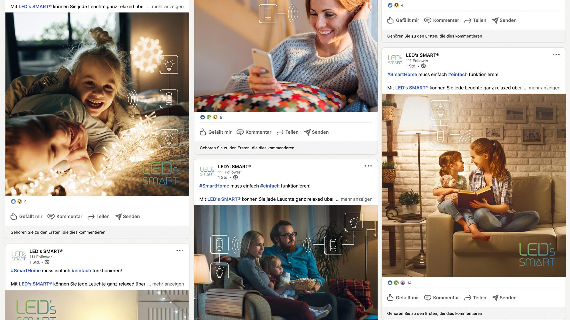 Markenentwicklung – Brand Design für smarte Lampensteuerung, social media