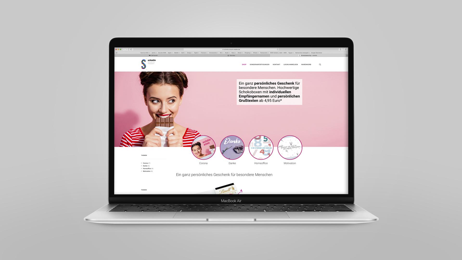Design Onlineshop - Der neue E-Shop für personalisierte Schokoladenmailings mit individuellem Grußtext ab einem Exemplar, Onlineshop