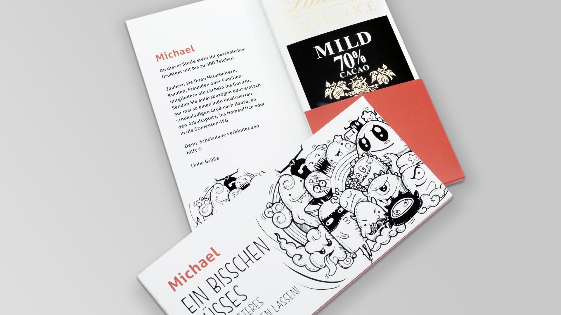 Design Onlineshop - Der neue E-Shop für personalisierte Schokoladenmailings mit individuellem Grußtext ab einem Exemplar, Mailing