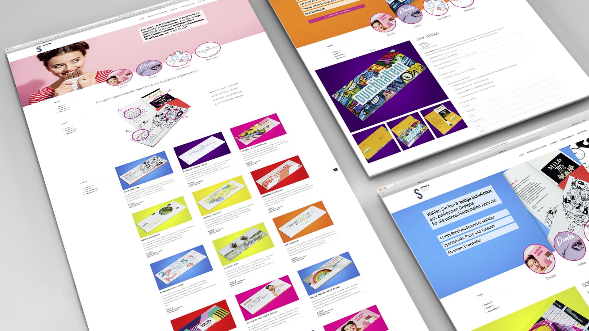 Design Onlineshop - Der neue E-Shop für personalisierte Schokoladenmailings mit individuellem Grußtext ab einem Exemplar, Webdesign